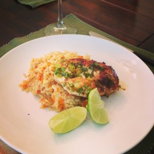 chicken with scallion lime sauce and sweet carrot rice